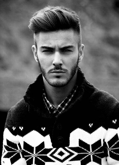 Hard Part And Pompadour Mens Hair