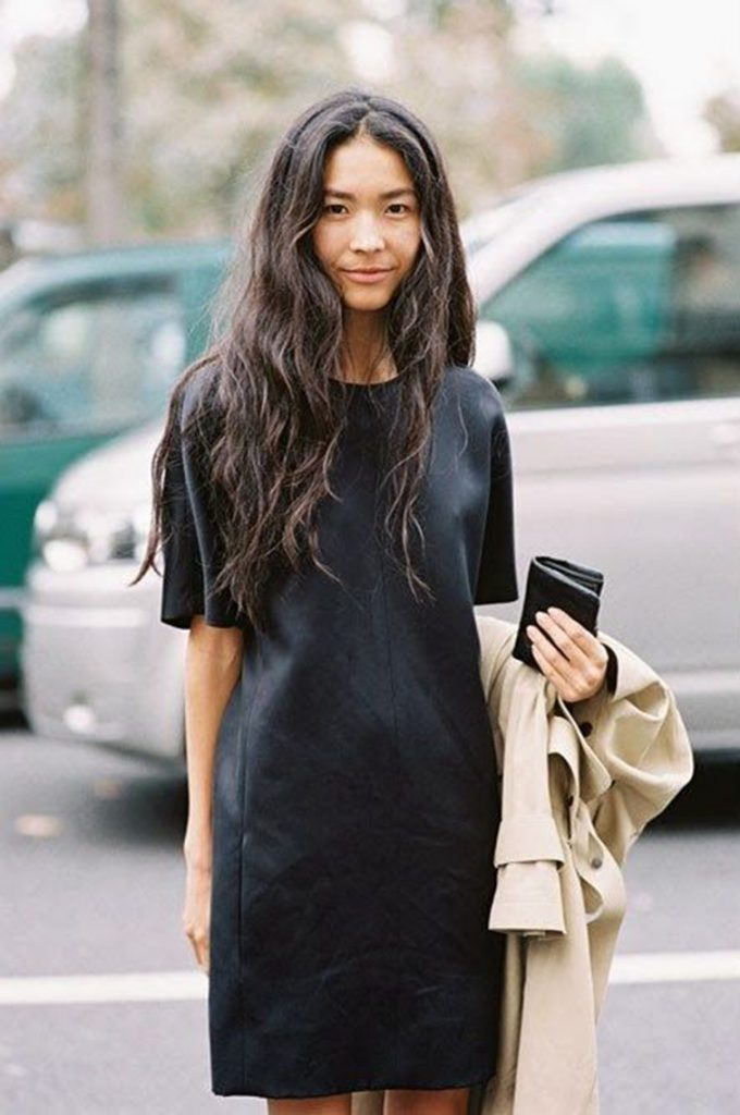 street-style-mini-black-leather-t-shirt-dress-trench-coat-long-messy-touseled-hair-fashion-week